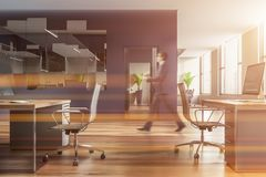Man walking in blue open space office stock photography