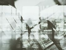 Man walking blurred. Man walking with double exposure effect stock image