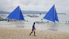 A man walking in Boracay island, Philippines Royalty Free Stock Image