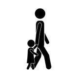 Man walking with boy icon Royalty Free Stock Image