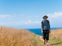 Man walking on Camino de Santiago Royalty Free Stock Image