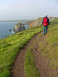 Man walking on a coastal hiking path, south england Stock Photo