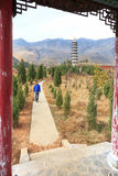 Man walking in the complex of the Heyang Temple in Heqing, Yunnan in China Royalty Free Stock Image