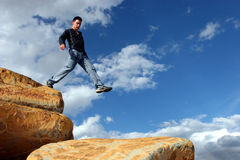 Man walking the corporate ladder Royalty Free Stock Photography
