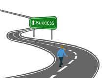 man walking on curved asphalt road highway to the green sign success with white arrow concept of way to success achieving goals v vector illustration