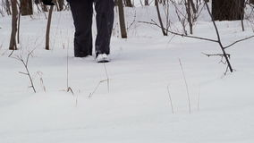 Man Walking in Deep Snow stock footage