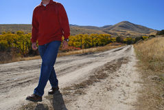 Man Walking on Deserted Road Stock Photography