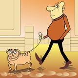 Man walking with a dog Royalty Free Stock Photography