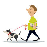 Man walking with dog Royalty Free Stock Photos
