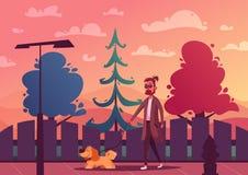 Man is walking with a dog. Cartoon vector illustration. Dog walker. Character design. Best friends. Funny person and cute dog vector illustration
