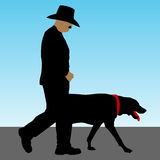 Man Walking Dog Royalty Free Stock Image