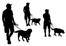 Man walking with a dog. A man walking with a dog on a leash. Silhouette on a white background Stock Photos