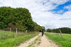 Man walking dog in nature stock photography