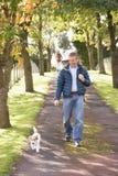 Man Walking Dog Outdoors In Autumn Park. Smiling stock photos