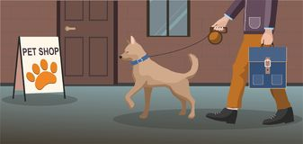 Man walking with dog. Pets accessories shop building,. royalty free illustration