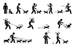 Man Walking Dog. Stick figures depict people walking pet dogs on a leash in various situations Stock Photos