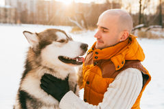 Man walking with dog winter time with snow in forest Malamute friendship Royalty Free Stock Photo