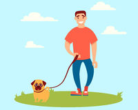 Man walking with a dog. Young man walks with a dog in the park. Vector illustration Royalty Free Stock Image