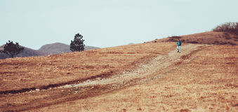 Man walking down on the hill Stock Photos