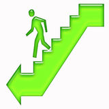 Man walking down stairs sign Royalty Free Stock Photo