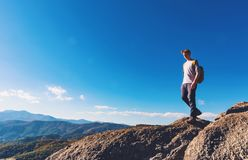 Man walking on the mountains n Stock Photo