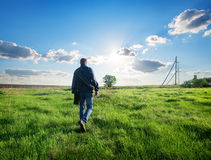 Man walking on the field Royalty Free Stock Photography