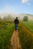 Man walking in fog Royalty Free Stock Photo