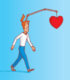 Man walking and following his heart and happiness Stock Image