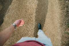 Man walking on footpath Stock Images
