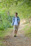 Man walking in forest. Man walking in the forest Stock Photography