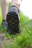Man walking in forest, exercising outdoors Stock Photos