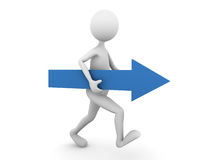 Man walking forward with blue arrow. 3D render Royalty Free Stock Photography