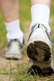 Man walking on hiking trail. In forest, sport shoe closeup stock photo