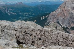 Man Walking for Him Aim: Get the Mountain& x27;s Top Royalty Free Stock Images