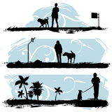 A man walking his dog. Vector Stock Photos