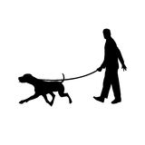 Man walking with his dog. Vector illustration as silhouette of man walking with his dog holding him by a leash stock illustration