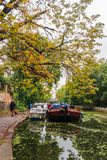 Man walking his dog along Islington Canal in Angel, London. London, England - August 9, 2018: Man walking his dog along Islington Canal in Angel, London stock photography