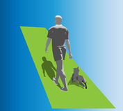 Man walking with his dog Royalty Free Stock Image