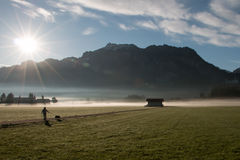 Man walking his dog in a yard, with the view of the sun and mountains Stock Images
