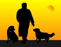 Man walking his dogs illustration.. royalty free illustration