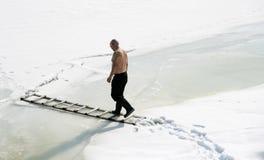 Man walking on ice Royalty Free Stock Image
