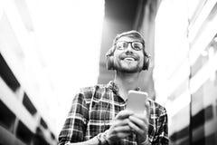Man Walking Listening Misic Earphones Concept Stock Image