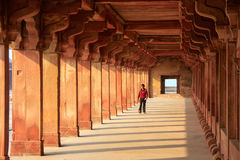 Man walking through Lower Haramsara in Fatehpur Sikri, Uttar Pra Stock Image