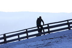 Man walking on the mountain to nord Italy Südtirol Royalty Free Stock Image
