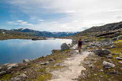 Man walking on a mountain trail in Norway. Path to Trolltunga or Royalty Free Stock Images
