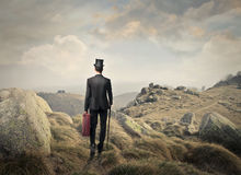 Man walking on a mountain Stock Image
