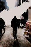 Man walking through mystery smoke nyc Royalty Free Stock Image