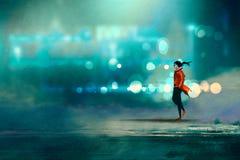 Man walking at nigh,gorgeous cold bokeh background Stock Photo