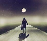 Man Walking at Night stock image