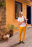 Man walking in old town. Greece Royalty Free Stock Image